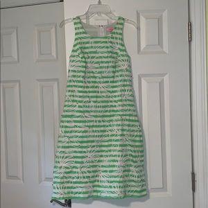 Lilly Pulitzer green + white stripe dress, size 2